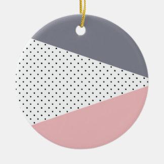Elegant pastel pink purple geometric polka dots christmas ornament