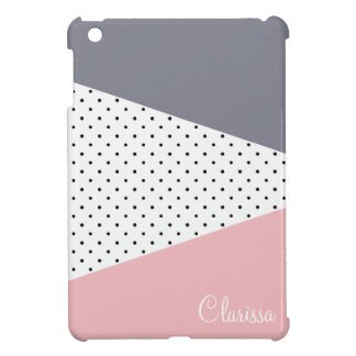 Elegant pastel pink purple geometric polka dots iPad mini case