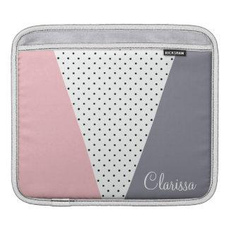 Elegant pastel pink purple geometric polka dots iPad sleeve