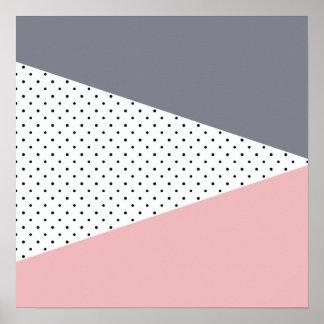 Elegant pastel pink purple geometric polka dots poster
