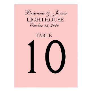 Elegant Pastel Pink Wedding Table Number Card Postcard