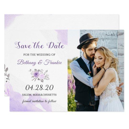 Elegant Pastel Purple Floral Save The Date Photo Card