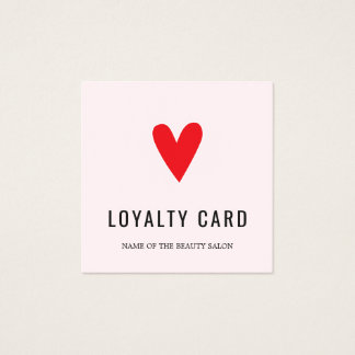 Elegant Pastel Red Heart Beauty Salon Loyalty Card