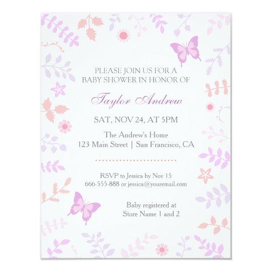 Elegant Pastel Spring Floral Butterfly Baby Shower Card