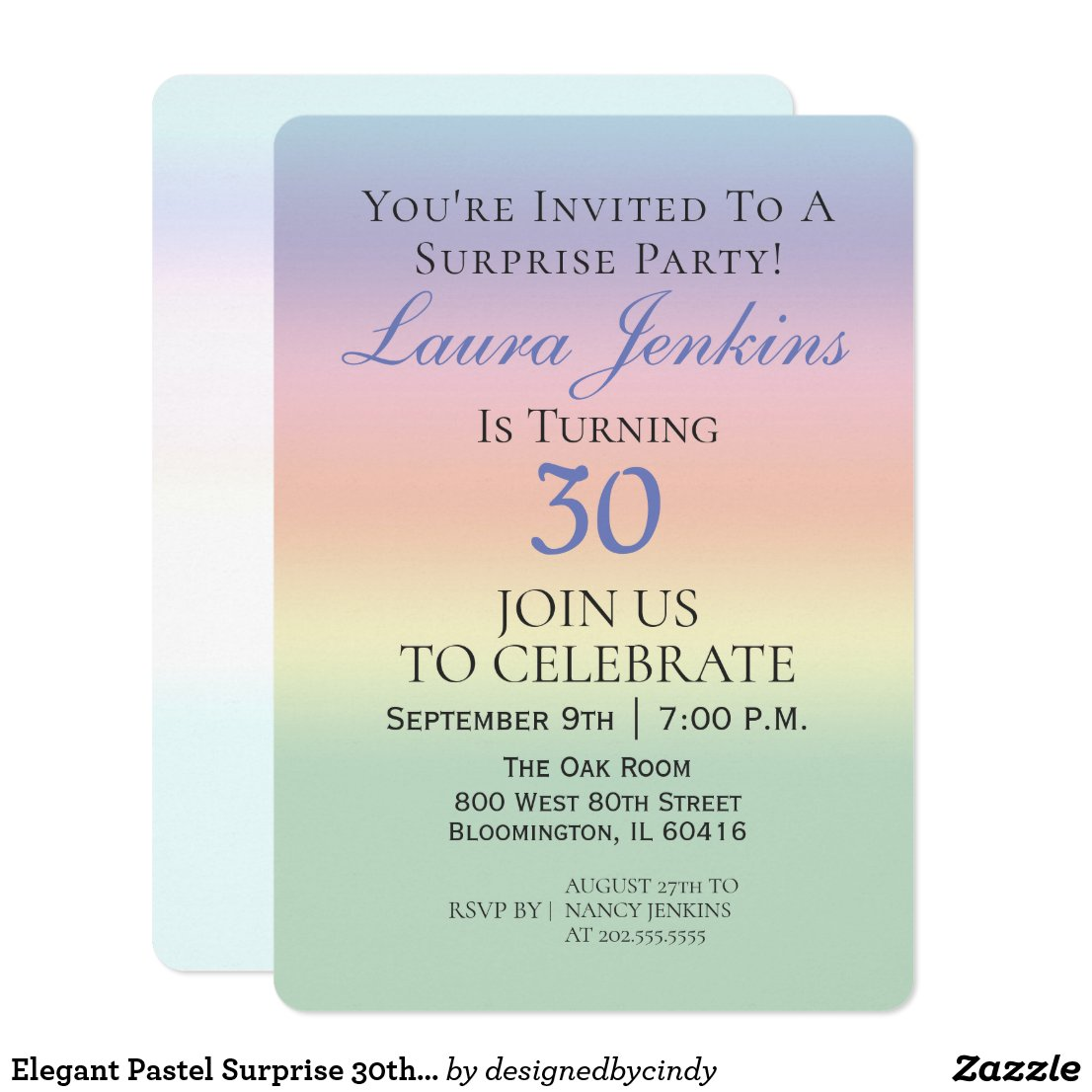 Elegant Pastel Surprise 30th Birthday Party Invitation
