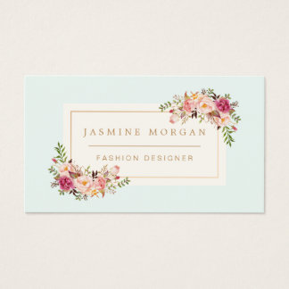 Elegant Pastel Watercolor Floral Boutique Decor Business Card