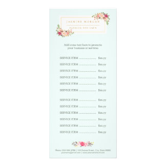 Elegant Pastel Watercolor Floral Menu Price List Personalized Rack Card