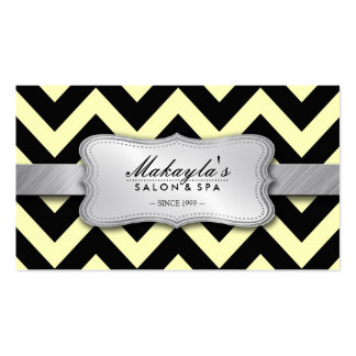 Elegant Pastel Yellow and Black Chevron Pattern Pack Of Standard Business Cards