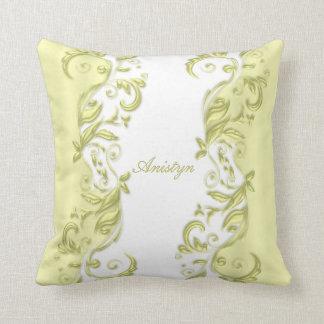 Elegant Pastel Yellow and White with DIY Text Throw Pillow