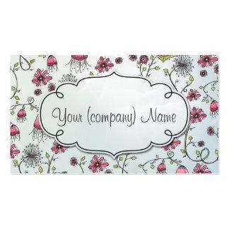 Elegant pattern flowers pink/blue pack of standard business cards