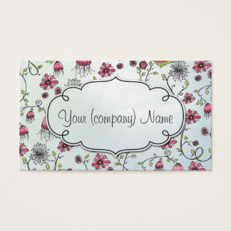 Elegant pattern flowers pink/blue business card