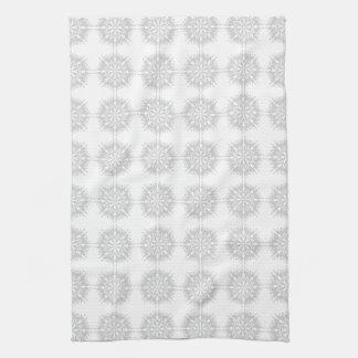 Elegant pattern, light gray and white. tea towel