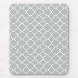 Elegant Pattern Modern White and Gray Quatrefoil Mouse Mat