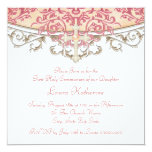 Elegant Peach Coral First Communion Personalized Announcement