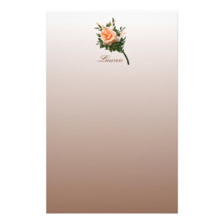Elegant Peach Coral Rose Flower Stationery