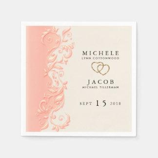 Elegant Peach Floral Swirl Paper Napkin