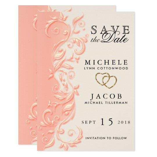 Elegant Peach Floral Swirl Save the Date Card