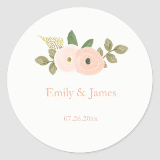 Elegant Peach Floral Watercolor Wedding Sticker