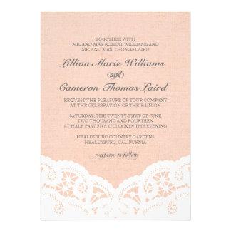 Elegant Peach Lace Wedding Invitation Announcement