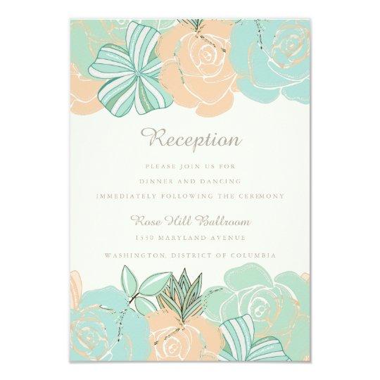 Elegant Peach Mint Floral Wedding Reception Card