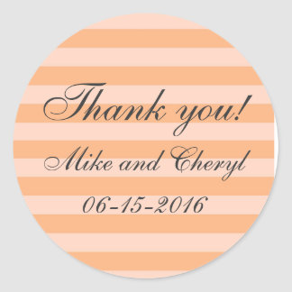 Elegant Peach Stripe Wedding Favor Stickers