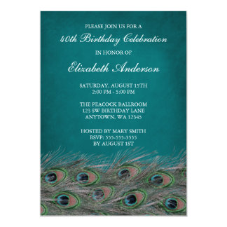 Elegant Peacock 40th Birthday Party Invitations