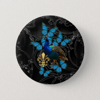 Elegant Peacock and blue butterflies on black 6 Cm Round Badge