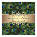 Elegant Peacock Birthday Party 13 Cm X 13 Cm Square Invitation Card