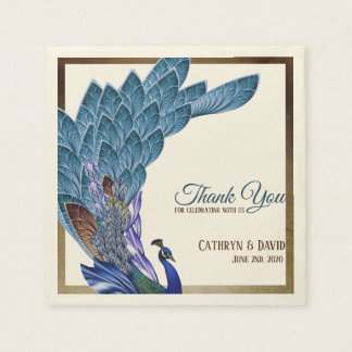 Elegant Peacock Blue & Gold Foil Custom Disposable Napkin
