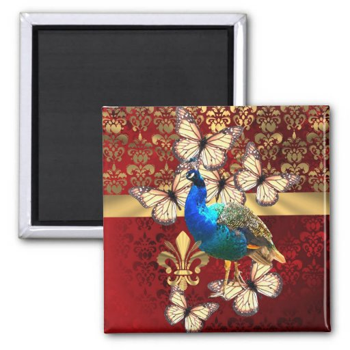 Elegant peacock, butterflies & red damask fridge magnet