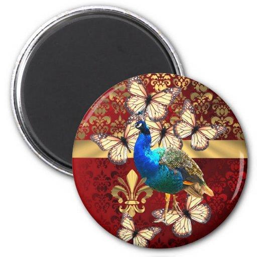 Elegant peacock, butterflies & red damask refrigerator magnets