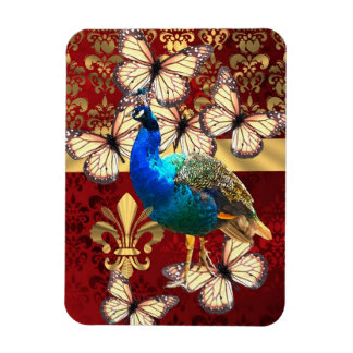 Elegant peacock, butterflies & red damask flexible magnets