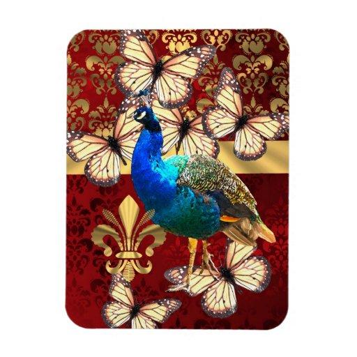 Elegant peacock, butterflies & red damask flexible magnets