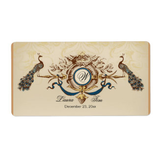 Elegant peacock design shipping label