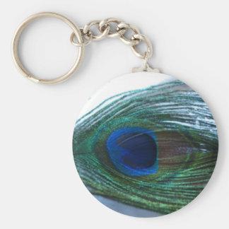 Elegant Peacock Feather Basic Round Button Key Ring
