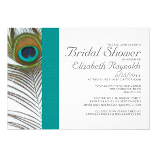 Elegant Peacock Feather Bridal Shower Invitations Cards