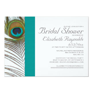 Elegant Peacock Feather Bridal Shower Invitations
