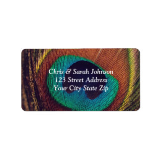 Elegant peacock feather peafowl eye custom luxury address label