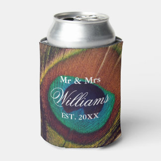 Elegant peacock feather peafowl eye custom wedding can cooler