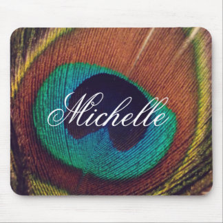 Elegant peacock feather peafowl eye personalized mouse mat