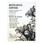 Elegant Peacock Feather Rehearsal Dinner 13 Cm X 18 Cm Invitation Card
