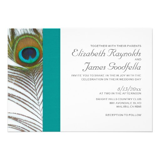 Elegant Peacock Feather Wedding Invitations Personalized Invitation
