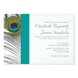 Elegant Peacock Feather Wedding Invitations
