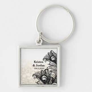 Elegant Peacock Feathers Bokeh Wedding Silver-Colored Square Key Ring