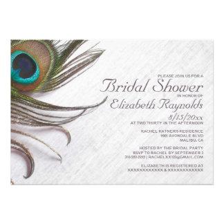 Elegant Peacock Feathers Bridal Shower Invitations Personalized Invitation