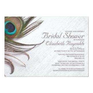 Elegant Peacock Feathers Bridal Shower Invitations