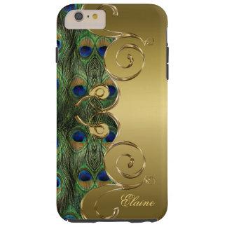Elegant Peacock Feathers Gold Ornament Monogram Tough iPhone 6 Plus Case