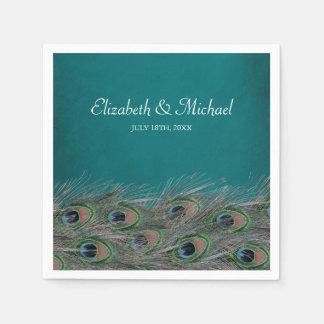 Elegant Peacock Feathers Personalized Wedding Disposable Napkins