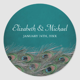 Elegant Peacock Feathers Round Wedding Favor Label Classic Round Sticker