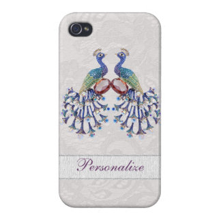 Elegant Peacock Jewels & Paisley Lace Print iPhone 4 Cover